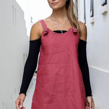 Easy To Say Marsala Denim Overall Dress