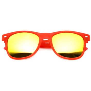 Neon Soft Rubberized Horned Rim Mirror Lens Sunglasses 8784