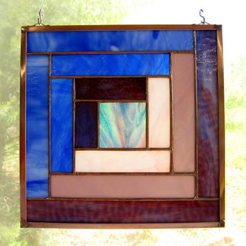 "Stained Glass Quilt Square 6"" Log Cabin Appalachian Traditional Pattern in Blues and Purples"