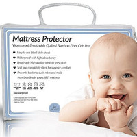 Quilted BAMBOO Waterproof Crib Mattress Protector by Bow-Tiger - Prevent Moisture & Dust Mites from Endangering Your Baby in Bed! Completely Silent & Extra Cozy Pad, Keep Your Baby Dry and Safe!