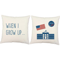 Set of 2 When I Grow Up Pillows - Kid President Pillow Covers and or Cushion Inserts - Children's Pillows, White House Print, USA Print