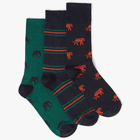 Buy John Lewis Tiger Elephant Socks, Pack of 3, Navy/Green | John Lewis