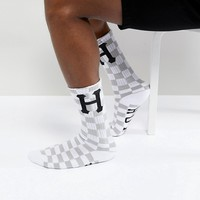 HUF Blackout Checkerboard Socks In White at asos.com