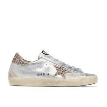 ONETOW Golden Goose Deluxe Brand Super Star Glitter Metallic Leather Sneakers