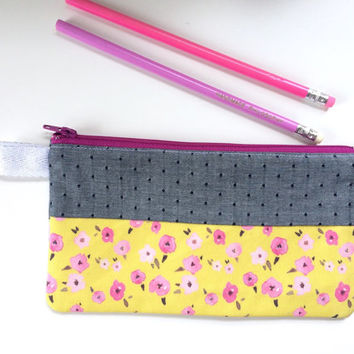 Floral Ditsy Yellow and Chambray Divided Pencil Case (handmade philosophy's pattern)