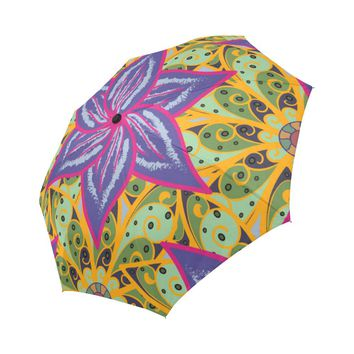 floral pattern in doodle style Auto-Foldable Umbrella
