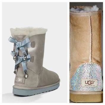 CUPUPS Swarovski Crystal Embellished Limited Edition Bailey Bow Uggs - Winter / Holiday Chris