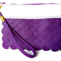 Purple Women Faux Leather Clutch Bag - Vegan Leather Bag, Unique Leather Bag, Purple Leather Evening Clutch Bag, Purple Purse Bag