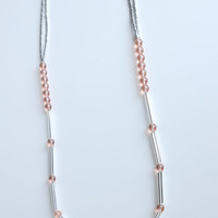 Light pink glass beads extra long necklace, small glass czech beads, small and large beads, silver tubes glass beads