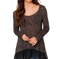 Brown Knitted Round Neckline Sweater with Asymmetric Hem