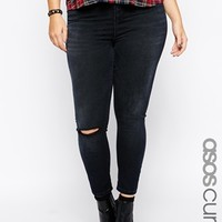 ASOS CURVE Exclusive Ridley Ankle Grazer Jeans in Washed Black with 1 Rip
