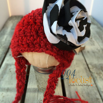 Baby Hat size 0-12 mos, Red Baby Hat, Red, Cow Hat, Fanciful Fall 2015 Collection, Baby Hat, Newborn Pictures, Photo Prop, Photography Prop