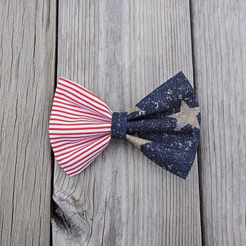 American Flag Large Hair bow, 4th of July French Barrette Clip, America Hair Accessories