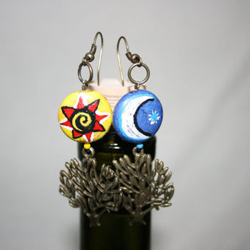Beautiful Earings with Sun and Moon - Hand Painted Earings  - Dangling Earings - Womens Jewelry - Womens Earings Gypsy Earrings