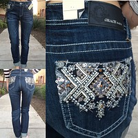 GRACE IN L.A. TERRITORY EASY BOOTCUT JEANS