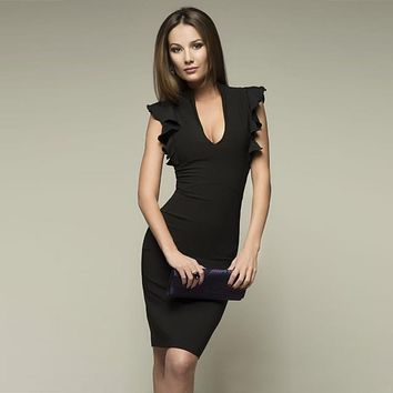 Deep V-Neck Bodycon Dress