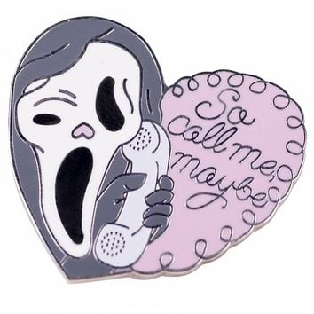 Scream Inspired Call Me Maybe Enamel Pastel Pin from Punky Pins
