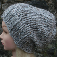 Hand Knit Hat Women's hat- Ash tweed -Rustic Mega Chunky with wool- slouchy hat