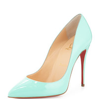 Christian Louboutin Pigalle Follies Patent Point-Toe Red Sole Pump, Opaline Turquoise