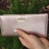 NWT KATE SPADE Cameron Street Stacy Leather Bi Fold Wallet Clutch Rose Gold Pink