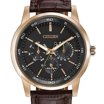 Citizen Eco-Drive Mens Dress Watch - Black Dial - Rose Gold-Tone Ion Plating