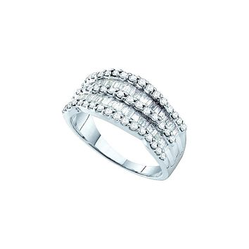 14kt White Gold Womens Round Baguette Diamond Striped Cocktail Band Ring 1.00 Cttw