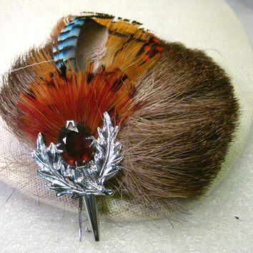 Vintage German/Bavarian Hunter's Hat Brooch/Brush with feathers, tail fur, silvertone tip and faux amethyst stone