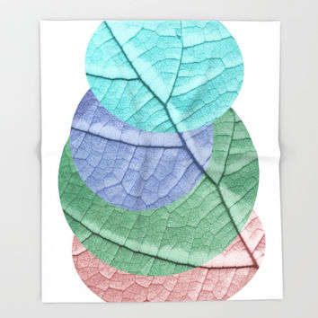Pastel Leaf Collage Throw Blanket by ARTbyJWP