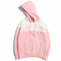 Supreme 2018 new street fashion men and women lovers hooded sweater Pink
