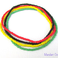 Rasta Seed Bead Stretch Bracelets, Set of Four, Red Yellow Green Black, Stretchy Jewelry