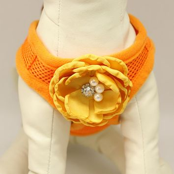 Dog harness, Dog harness with Sunny Yellow beaded rose, Mesh harness ,Breathable, Girl puppy harness, Black, purple, orange, yellow or pink harness