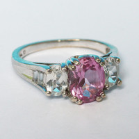 Pink and Clear Stone Ring CZ Gemstone Sterling Vintage Size 7
