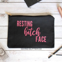 Resting Bitch Face // Makeup Bag - Glitter - Funny Makueup Bag