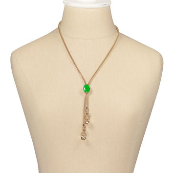 70's__Vintage__Green Stone Bolo Necklace