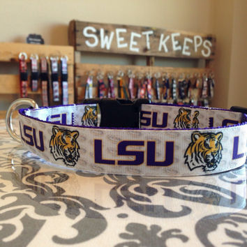 Dog Collar Made from LSU Inspired Ribbon