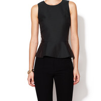 Winsor Faux-Leather Accent Peplum Top