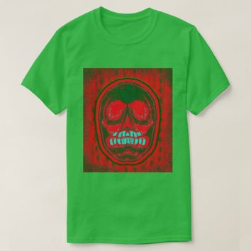 Green & Red Skull -Blue Teeth T-Shirt