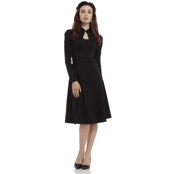 Dita Keyhole Black Neckline Long Sleeve Dress