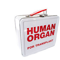 Human Organ Donor Transplant Tin  School Lunchbox tote Lunch Box Pail Vintage