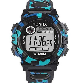 Boys or Girls , Digital Blue , Black and Turqoise Sports Watch w/ Silcone Band ( water resistant , date, stop watch)