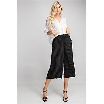 High Waist Wide Leg Pants - Black with White Stripe