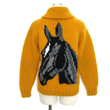 50s Knit Horse Sweater / Vintage 1950s Yellow Zip Up Sweater / Handmade Equestrian Preppy Collegiate School Girl Boy Sweater Jacket / S