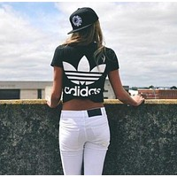 Adidas Women Boyfriend T-shirt Back Trefoil Logo - Black