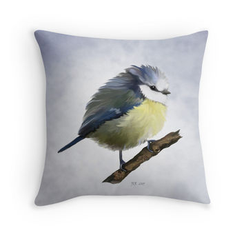 'Young Blue Tit' Throw Pillow by Bamalam Art and Photography
