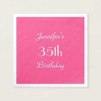 Hot Pink Paper Napkins, 35th Birthday Party Napkin