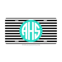 Monogrammed License Plate - Black Stripe