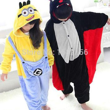 DCCKH6B Nightgown Jumpsuit Animal Onesuit Flannel Unisex Bat Minion Costume Pajamas Winter Children Pijama Infantil Menino