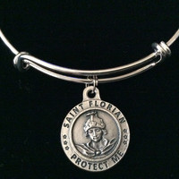 Firefighter Saint Florian Charm on a Silver Expandable Adjustable Bangle Bracelet Patron Saint of Fireman  Inspirational Jewelry