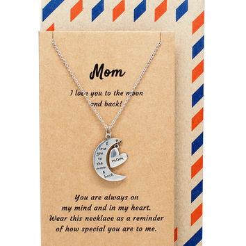 Zara Mom Necklace with I Love You to the Moon and Back Pendant and Heart Charm