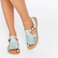 ASOS FOREST Leather Flat Sandals